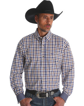 Wrangler 20X Men's Rustic Blue Advanced Comfort Competition Long Sleeve Western Shirt , Blue, hi-res