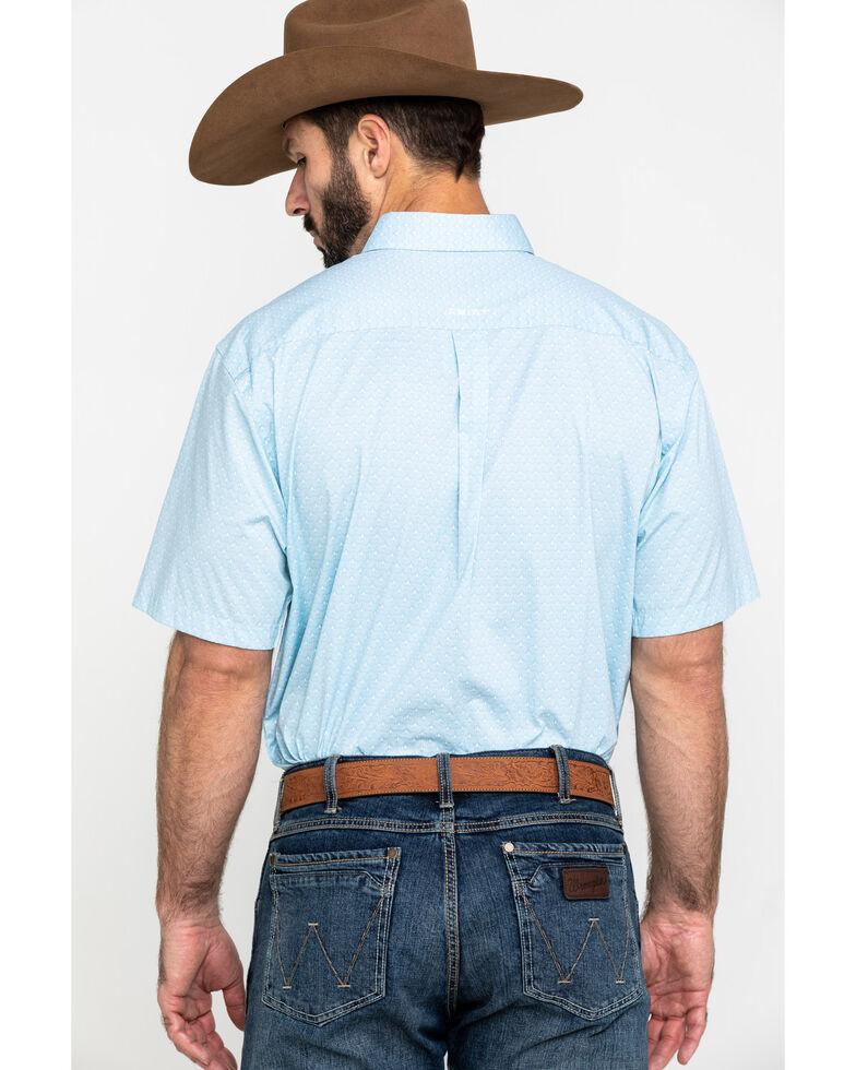 Ariat Men's Louisville Stretch Geo Print Short Sleeve Western Shirt , Blue, hi-res
