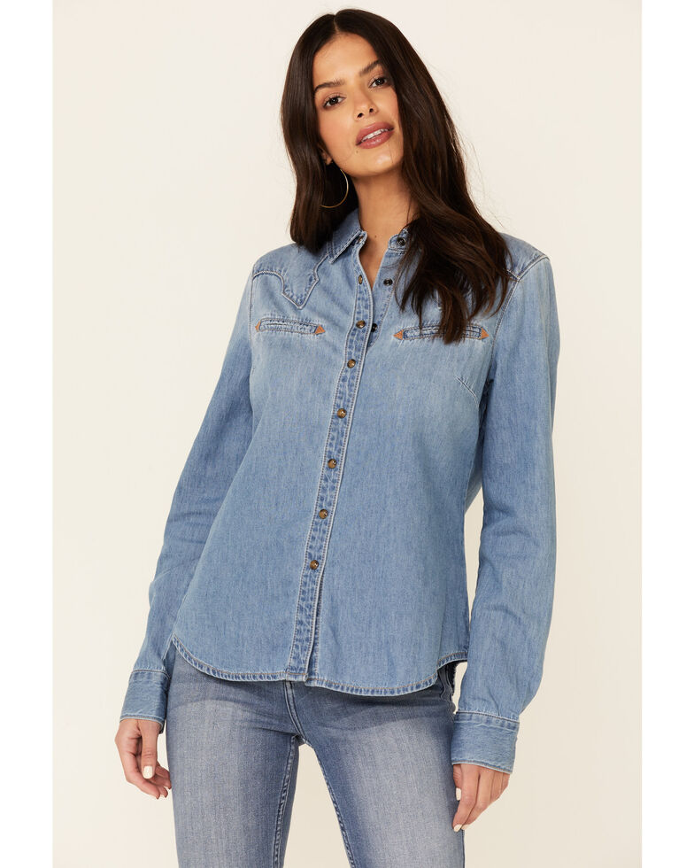 Idyllwind Women's Old Town Road Western Top , Light Blue, hi-res