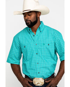 George Strait by Wrangler Men's Emerald Check Plaid Short Sleeve Western Shirt , Green, hi-res