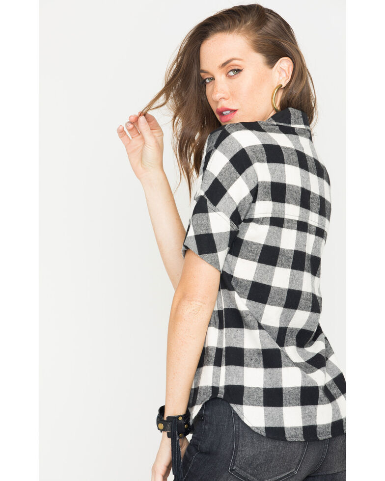 Glam Women's Black Harvest Plaid Boyfriend Shirt , Black, hi-res