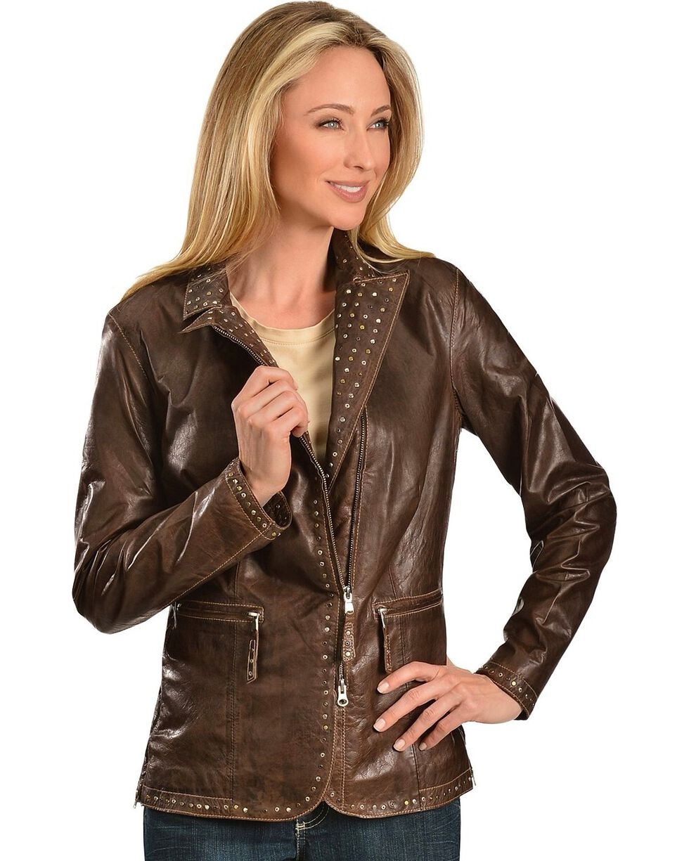 Scully Studded Trim Leather Jacket, Brown, hi-res