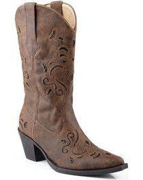 Roper Women's Glitter Underlay Western Boots, Brown, hi-res