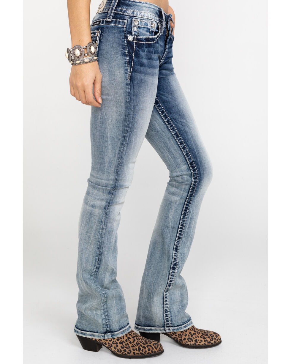 Miss Me Women's In Tune Embroidered Pocket Boot Jeans , Blue, hi-res