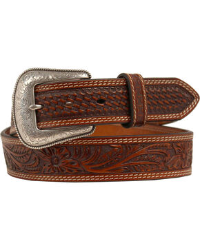 Nocona Embossed Oval Concho Belt, Tan, hi-res