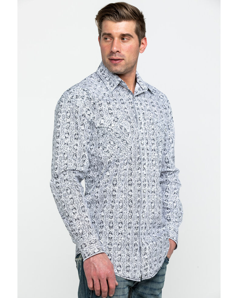Rough Stock By Panhandle Men's Caselli Aztec Print Long Sleeve Western Shirt , White, hi-res