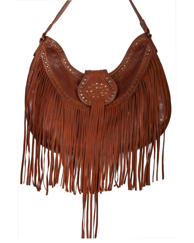 Scully Women's Leather Fringe Handbag, Tan, hi-res