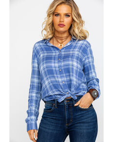 Shyanne Women's Plaid Split Back Long Sleeve Western Shirt , Blue, hi-res