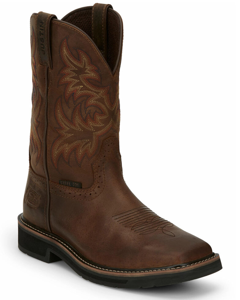 Justin Men's Driller Western Work Boots - Steel Toe, Tan, hi-res