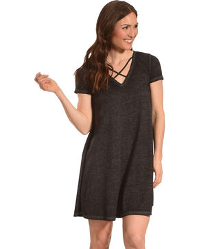 Derek Heart Women's Black Criss Cross Neckline Dress , Black, hi-res