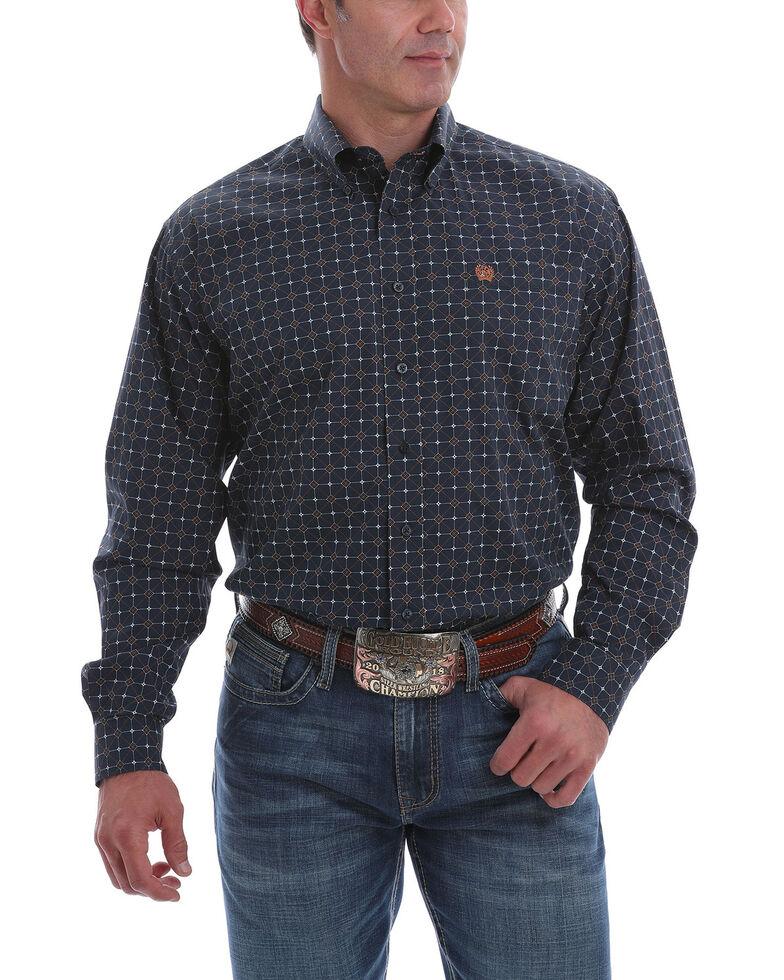 Cinch Men's Navy Large Geo Print Long Sleeve Western Shirt - Big , Navy, hi-res