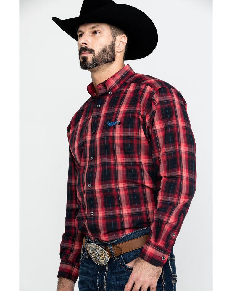 Ariat Men's Fireball Ombre Plaid Long Sleeve Western Shirt , Red, hi-res