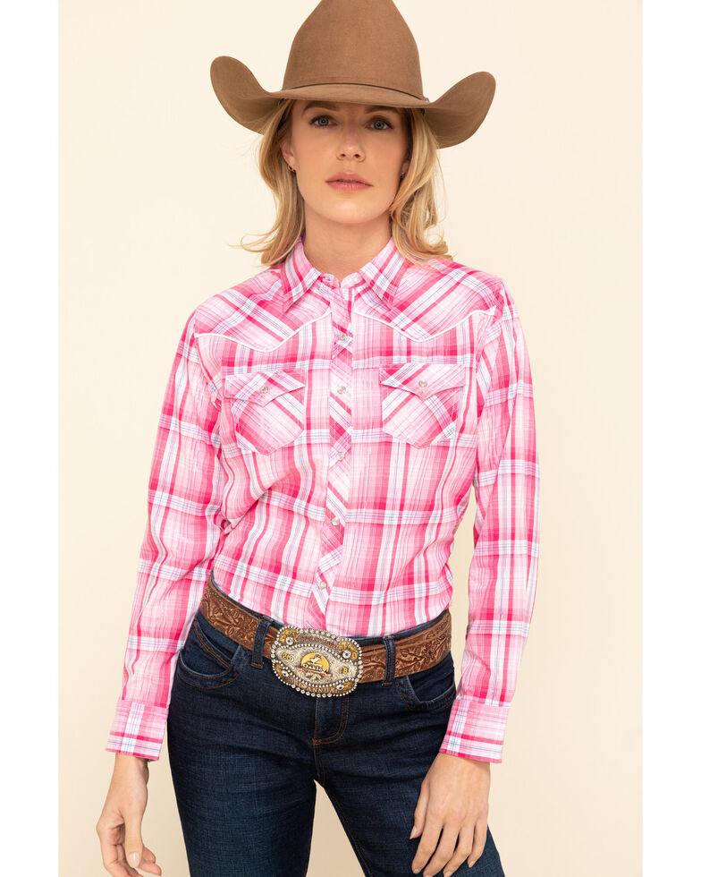 Cumberland Outfitters Women's Pink Lurex Plaid Snap Long Sleeve Western Shirt , Pink, hi-res