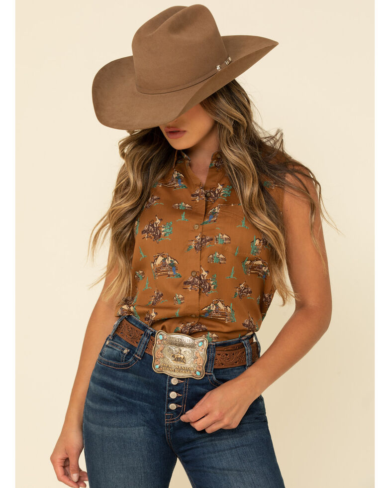 Ariat Women's Welcome To The Rank Sleeveless Top, Brown, hi-res