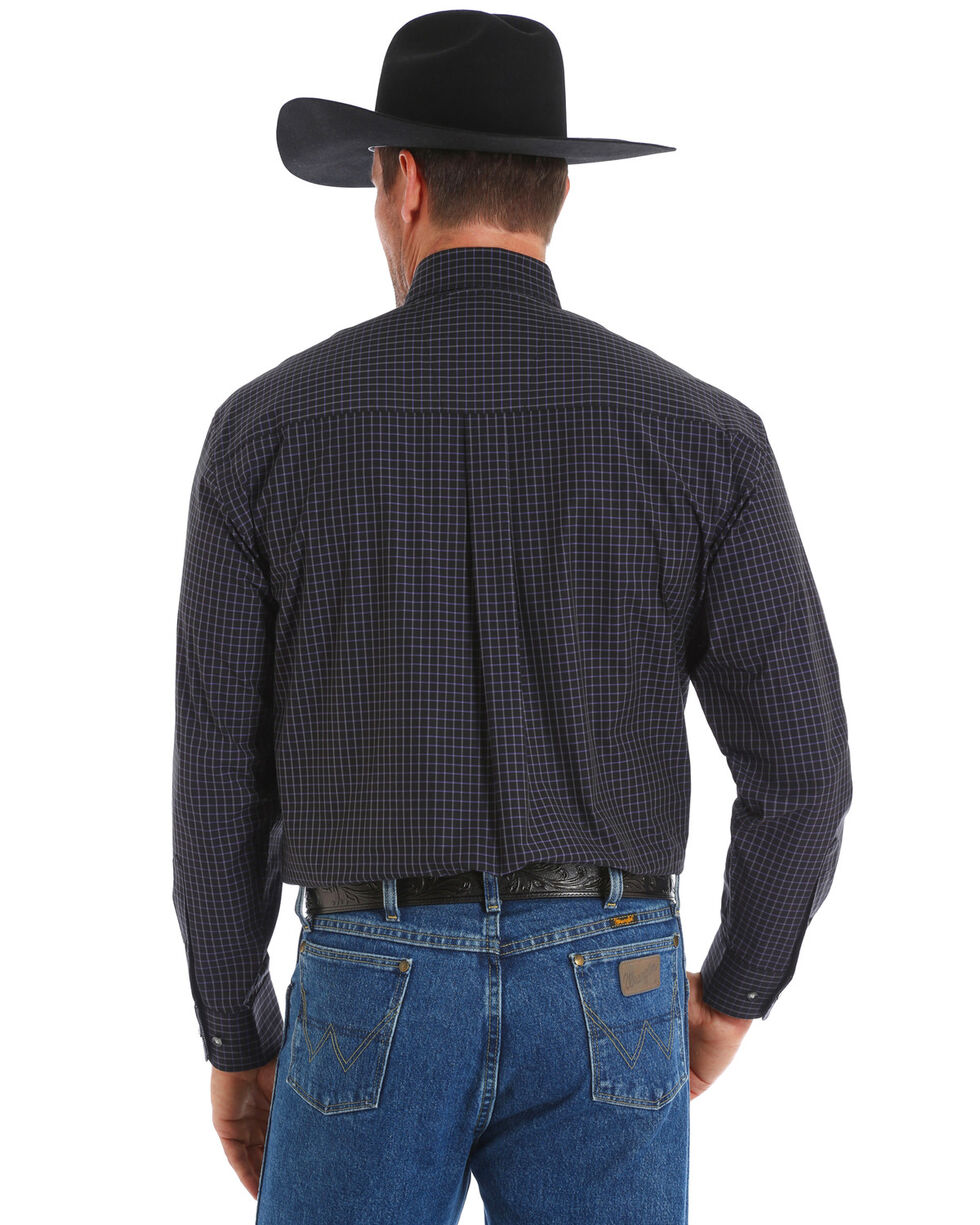 George Strait by Wrangler Men's Black Checker Long Sleeve Western Shirt, Black, hi-res