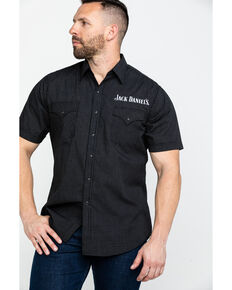 Jack Daniels' Men's Blend Mini Check Plaid Short Sleeve Western Shirt , Black, hi-res