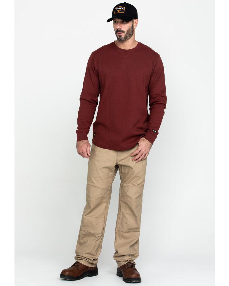 Hawx Men's Red Solid Asphalt Thermal Crew Long Sleeve Work Shirt , Dark Red, hi-res