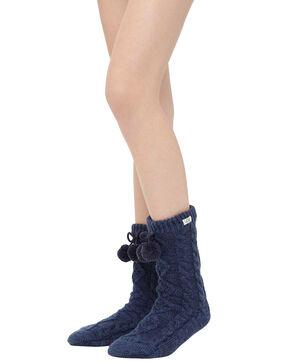Ugg Women's Pom Pom Crew Socks, Navy, hi-res