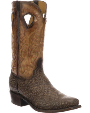 Lucchese Men's Handmade Bates Chocolate Shark Pull Hole Western Boots - Square Toe, Tan, hi-res