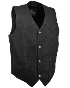 Milwaukee Leather Men's 4X Classic Snap Front Denim Biker Vest, Black, hi-res