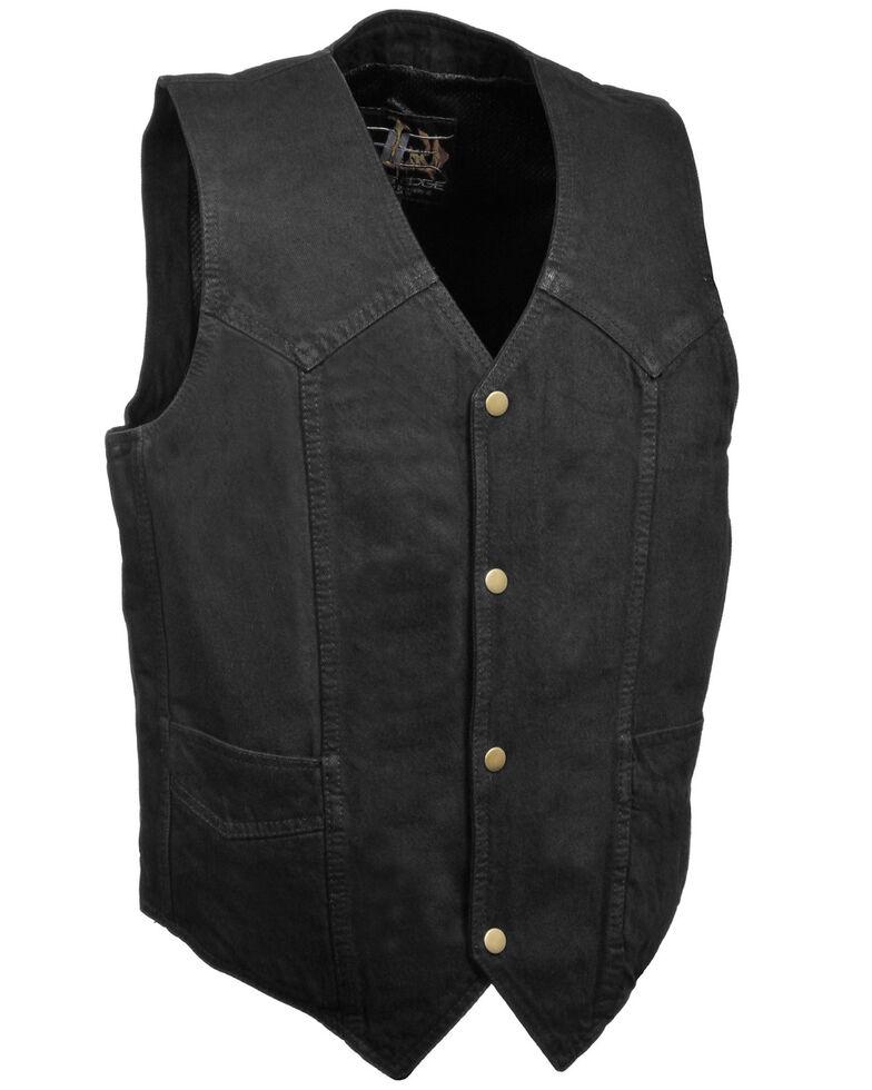 Milwaukee Leather Men's 4X Classic Snap Front Denim Biker Vest, , hi-res