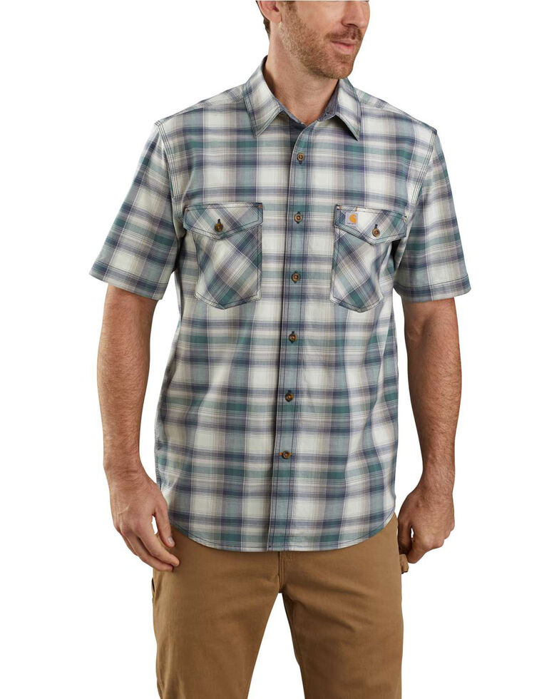 Carhartt Men's Green Rugged Flex Bozeman Plaid Short Sleeve Work Shirt , Green, hi-res