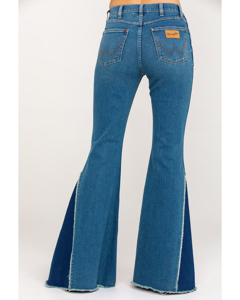 Wrangler Modern Women's High Rise Button Flare Jeans , Blue, hi-res