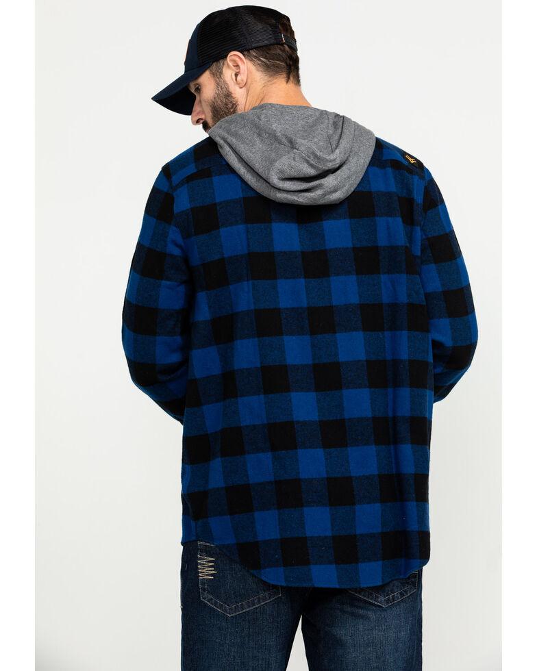 Hawx Men's Blue Monteta Plaid Hooded Long Sleeve Shirt Work Jacket - Tall , Blue, hi-res