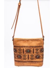 Shyanne Women's Harper Aztec Print Crossbody Messenger Handbag, Brown, hi-res
