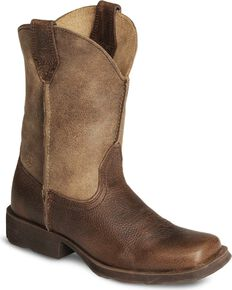 Ariat Kid's Rambler Western Boots, Earth, hi-res