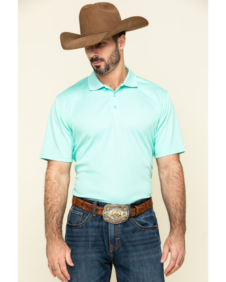 Ariat Men's Turquoise Solid TEK Short Sleeve Polo Shirt , Turquoise, hi-res