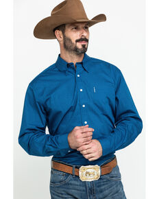 Cinch Men's Modern Fit Blue Small Geo Button Long Sleeve Western Shirt , Blue, hi-res
