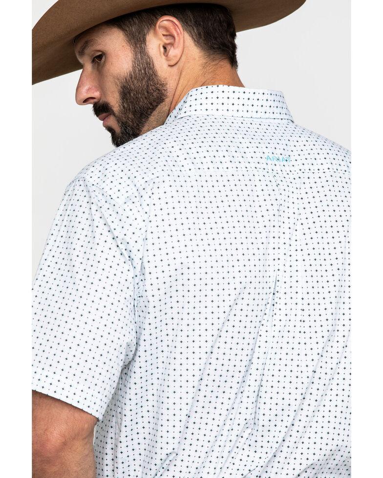 Ariat Men's Kellton Stretch Geo Print Short Sleeve Western Shirt , White, hi-res