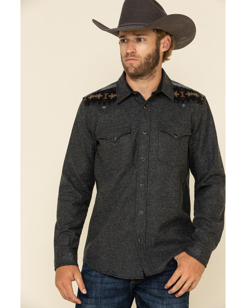 Pendleton Men's Grey Canyon Pieced Aztec Solid Long Sleeve Western Flannel Shirt , Grey, hi-res