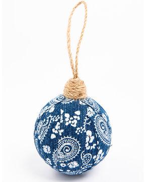 BB Ranch Paisley Denim Ball Ornament, Blue, hi-res