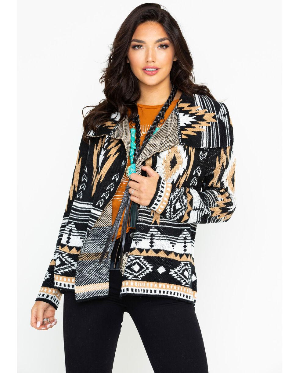 Rock & Roll Cowgirl Women's Camel Aztec Cardigan, Black, hi-res