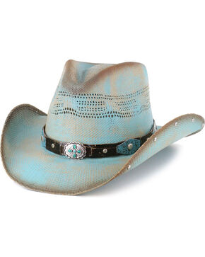Bullhide Women's Sun West Concho Straw Hat, Blue, hi-res