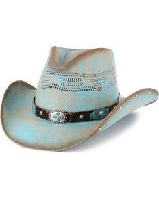 Bullhide Girls' Sun West Concho Straw Hat, Blue, hi-res
