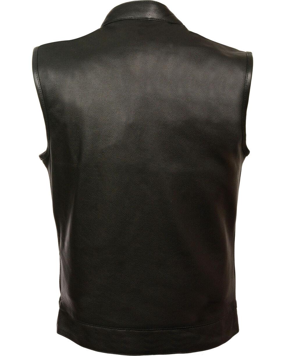 Milwaukee Leather Men's Open Neck Snap/Zip Front Club Style Vest, Black, hi-res