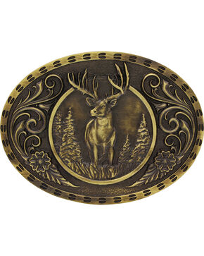 Montana Silversmiths Wild Stag Belt Buckle, Gold, hi-res
