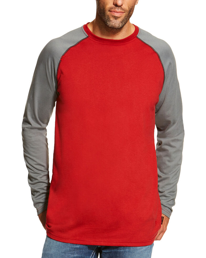Ariat Men's Red FR Baseball Tee, Red, hi-res