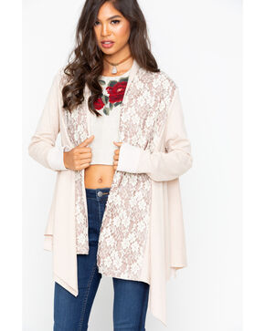Miss Me Women's Harmony Lace Cardigan, Cream, hi-res