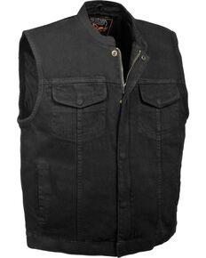 Milwaukee Leather Men's Concealed Snap Denim Club Style Vest - 3X, Black, hi-res