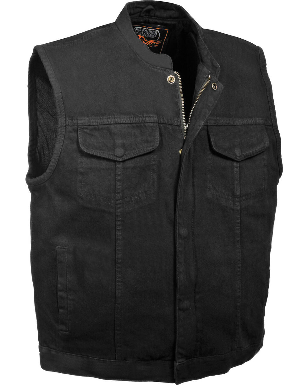 Milwaukee Leather Men's Concealed Snap Denim Club Style Vest - 4X, , hi-res