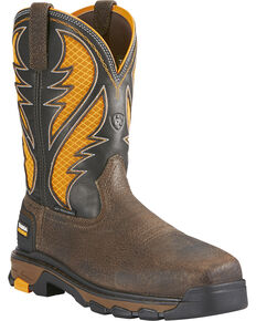 Ariat Men's Intrepid VentTEK Comp Toe Pull-On Safety Work Boots, Brown, hi-res