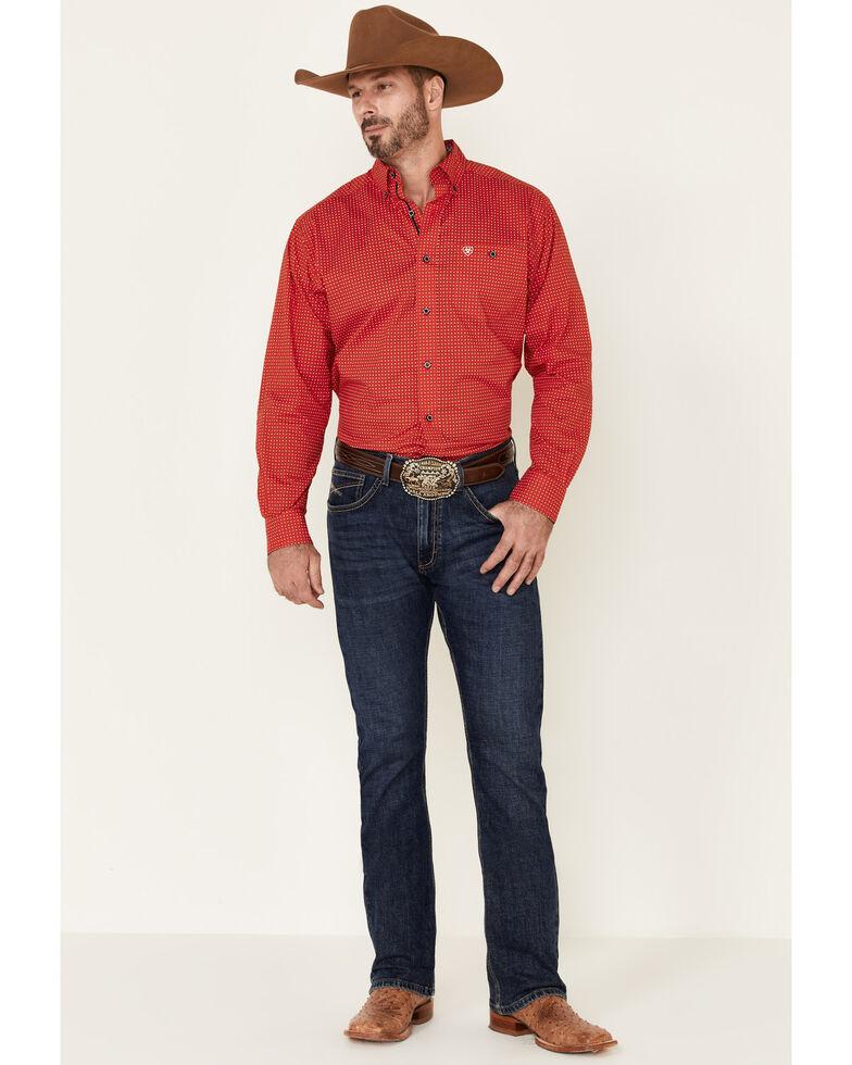Ariat Men's Mettle Stretch Geo Print Long Sleeve Western Shirt , Red, hi-res