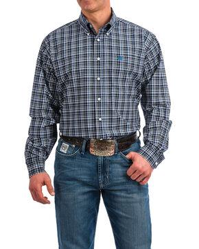 Cinch Men's Plaid Long Sleeve Western Shirt , Navy, hi-res