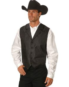 Rangewear by Scully Black Paisley Button Vest, Black, hi-res