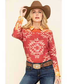 Ranch Dress'n Women's Buckin' Horse Long Sleeve Western Shirt, Red, hi-res