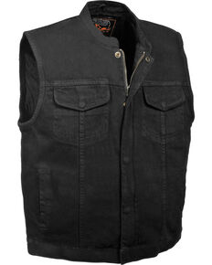 Milwaukee Leather Men's Concealed Snap Denim Club Style Vest - 3X, Black, hi-res